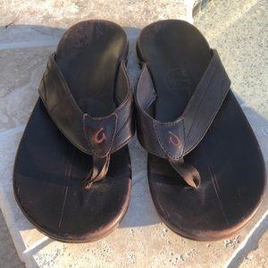 Olukai Okui E'A KIA men size 12 leather flip flops